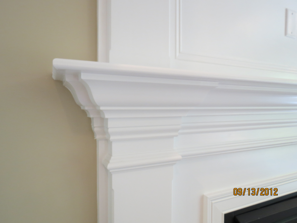 Photo of owner inspired custom design new home - view of fireplace molding