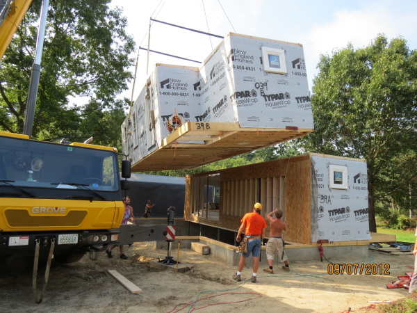 Photo of owner inspired custom design new home - 1st modular section placed