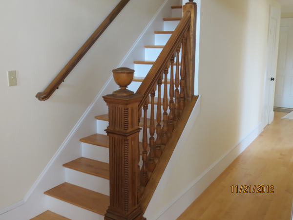 Photo of home remodeling to convert to farmhouse - completed stairs view