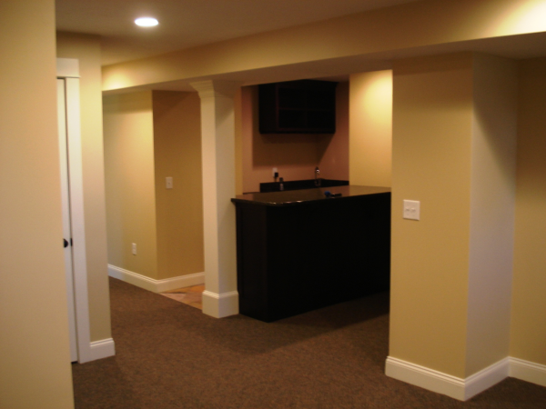 Photo of home lower level conversion to Rec Rm - food prep area