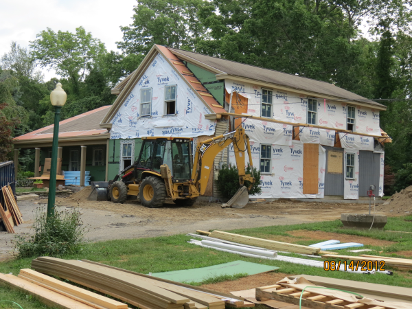 Photo of home remodeling to convert to farmhouse - during construction view