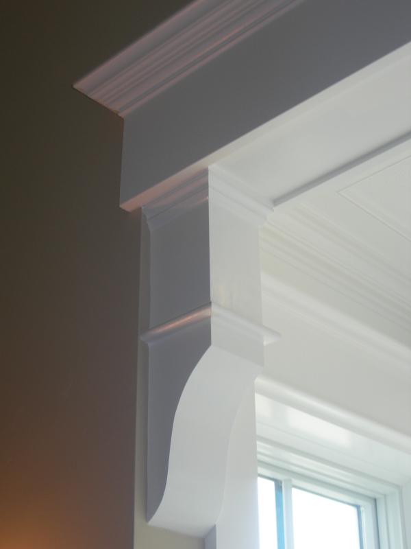 Photo of molding detailing brackets in new home