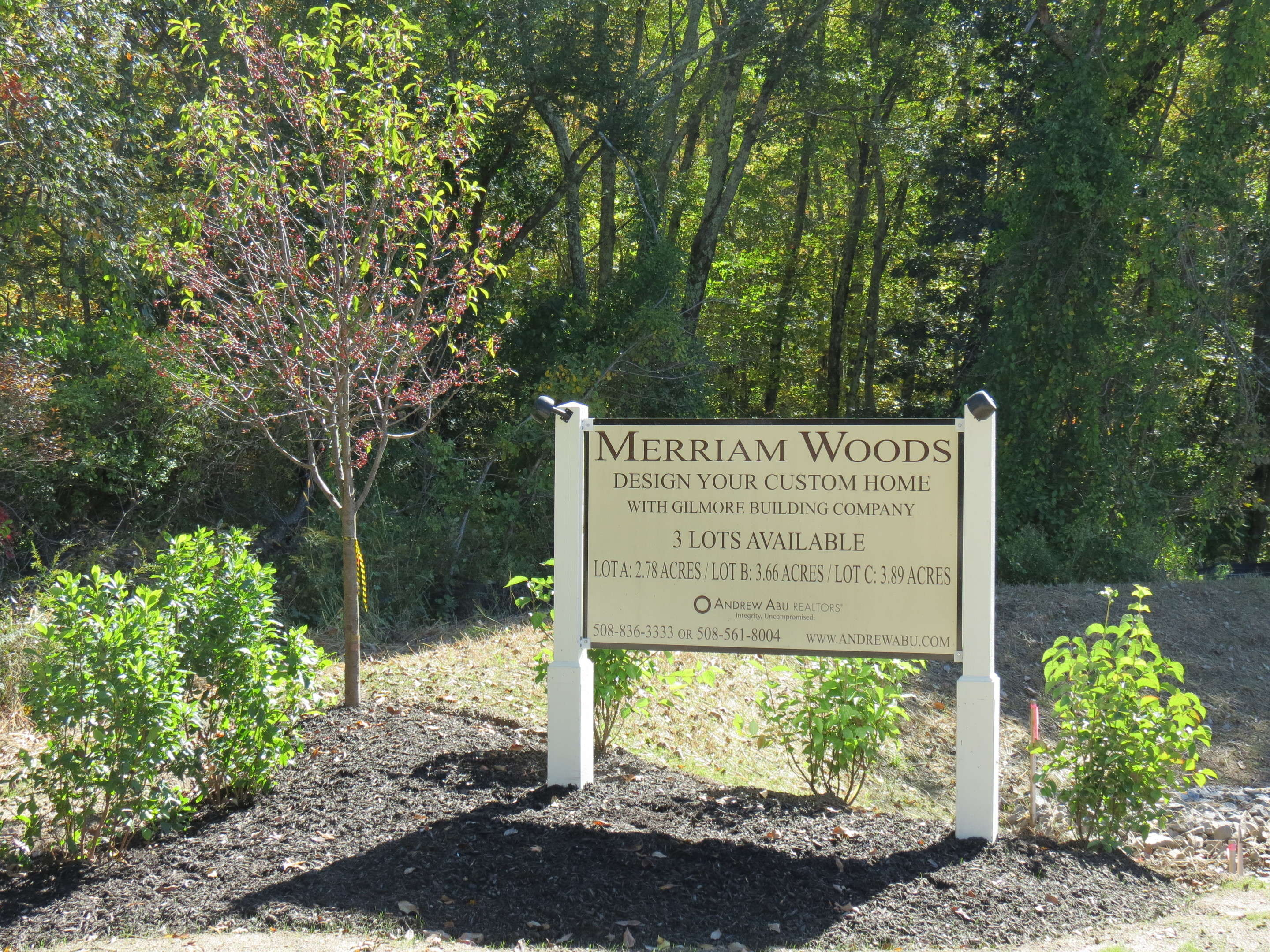 Entrance sign to Merriam Woods