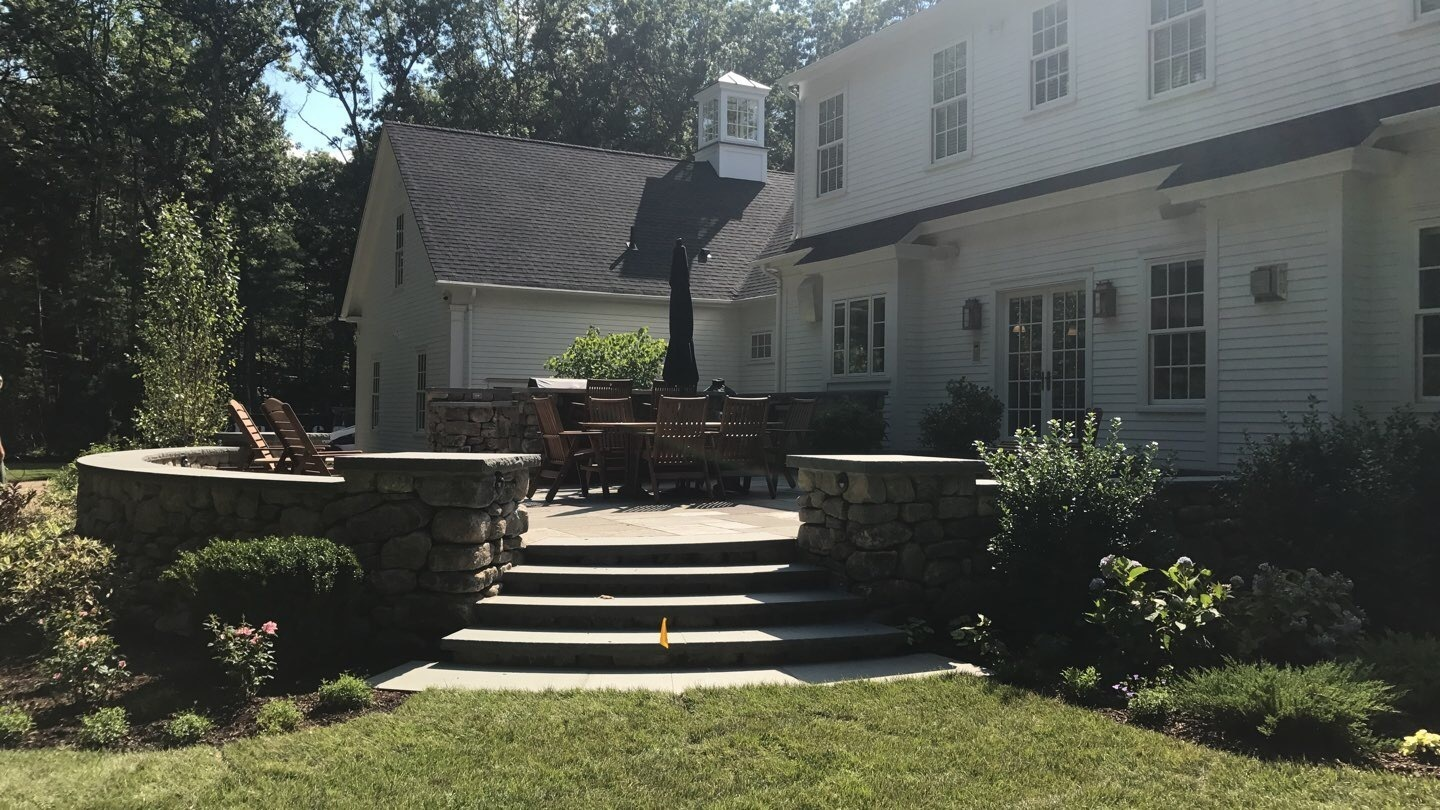 Rear patio of historic inspired home